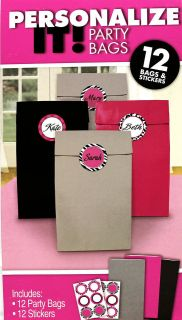 BAGS w/ Pink & Black ZEBRA Print STICKERS ~ Birthday Party Supplies