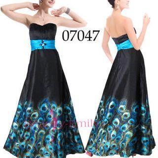 Sexy Peacock Black Evening Dresses Long Party Maxi Gown 07047 SZ XXL