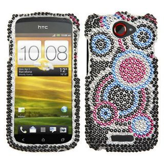 For T Mobile HTC One S Case Cover Bling Rhinestones Bubble Diamond *