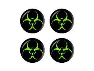 Zombie Outbreak Response Vehicle Biohazard Green Wheel Cap 3D Set of 4