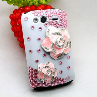 3D Bling Diamond Pink Camellia Case Cover For HTC Wildfire S A510e G13