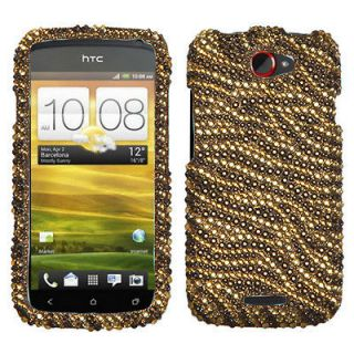 Mobile HTC One S Case Cover Bling Rhinestones Tiger Skin Camel/Brown
