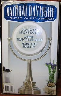 NATURAL DAYLIGHT LIGHTED VANITY MIRROR DUAL MAGNIFCATION 1X 8X FREE