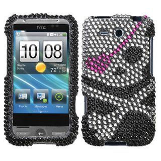 For HTC Freestyle Case Cover Bling Rhinestones Black Skull Cute *