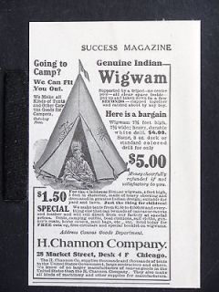 1906 CHANNON Genuine Indian Wigwam magazine Ad Childrens Camping Tent