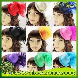 Party Wedding Bridal Feather Mini Top Hat Veil Fascinator Hair Clip