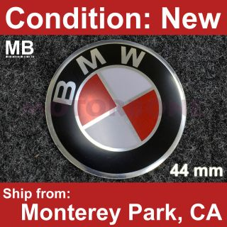 BMW 44mm Red White Stick On Steering Wheel Horn Button Emblem Euro VIP
