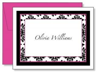 Custom Personalized Black Damask Name Note Cards   4 color options