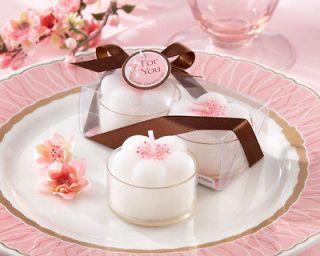 Cherry Blossoms Flower Tea Lights Wedding Bridal Shower Favors 2pk