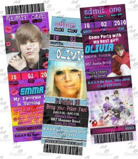 Justin Bieber & Lady Gaga invitations + Party Supplies