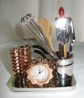 KITCHEN THEME CHEFS CLOCK PANS WHISK ROLLING PIN DESK TOP