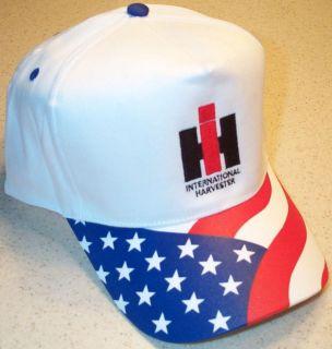 White R/W/B IH International Harvester Wavy Flag Solid Hat