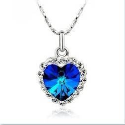2012 Fashion HEART OF THE OCEAN NECKLACE Czech Blue CRYSTAL HEART+Gift
