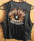 Harley Davidson Flame II Ride Free Leather Vest Large OR XS 98126 04VW