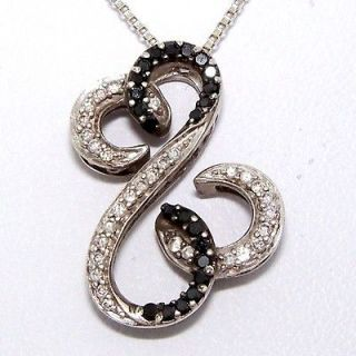 Jane Seymour Black White Diamond Open Heart Pendant/Necklace Sterling