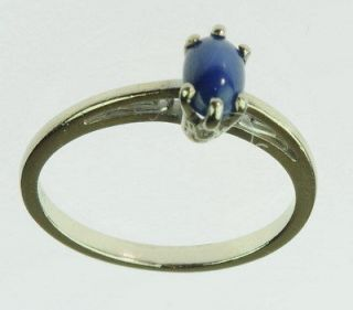 LADIES 14K WHITE GOLD BLUE STAR SAPPHIRE ESTATE RING 85303