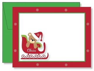 Personalized FLAT Teddy Bear & Sled Christmas Thank You Note Cards