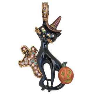 NEW KIRKS FOLLY BLACK CAT HALLOWEEN MAGNETIC ENHANCER GOLDTONE