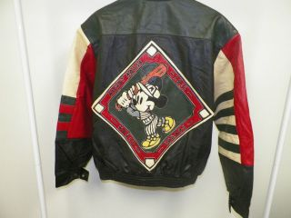 LEATHER MICKEY MOUSE BASEBALL SNAP FRONT JACKET SIZE L EXCELLENT