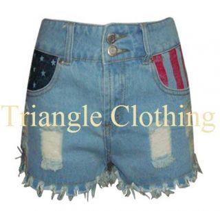 Womens Denim Hotpants USA Flag Stars And Stripes Pockets Ripped Jeans