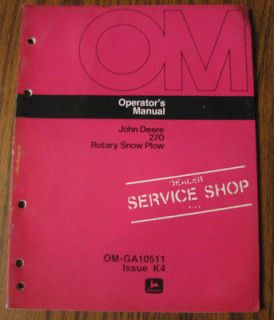 John Deere 3020 Tractor 270 Rotary Snow Plow Operators Owner Manual jd