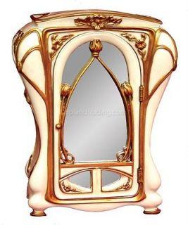 NEW Art Nouveau Miniature Mirrored Jewelry Armoire
