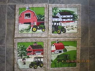 John Deere Farm Tractor Unstuffed Pillow Set of 4