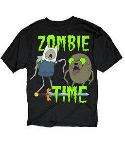 Adventure Time With Finn & Jake Zombie Time Licensed Adult T Shirt S