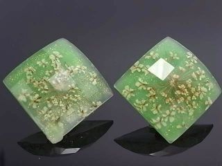 Green Lucite Crystal Floral Pattern Lady Fashion Jewelry Stud Earrings