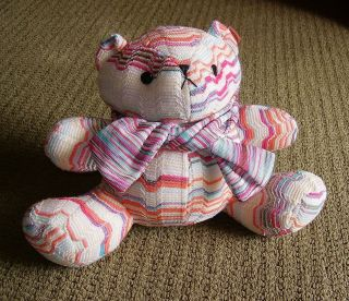 AUTHENTIC Gorgeous MISSONI Teddy BEAR Plush KNIT Fabric & SCARF