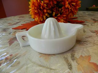 Vintage Opaque White Milk Glass Sunkist Juicer Reamer Juice Press