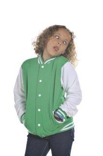 Girl Boy Kids Varsity Baseball College Letterman Jacket Sweatshirt