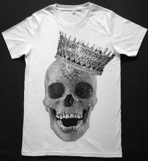 Diamond Skull King Crown Sugar Skull Punk Rock Hip Hop Retro White T