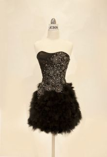New Black Feather Strapless Short Corset Sequins Ball Prom Cocktail