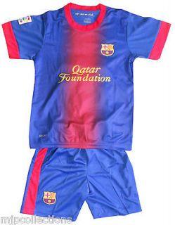 KIDS CHILDS BOYS BARCELONA HOME FOOTBALL SOCCER KIT SHIRT SET ADD NAME
