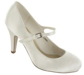 NEW WOMENS IVORY SATIN HIGH HEEL WEDDING BRIDAL SHOES LADIES SIZE 3 8
