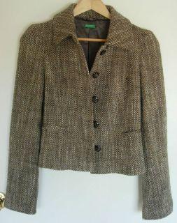 Womens BENETTON Brown Tweed Wool Blend Blazer Jacket Coat Sz 40 / S