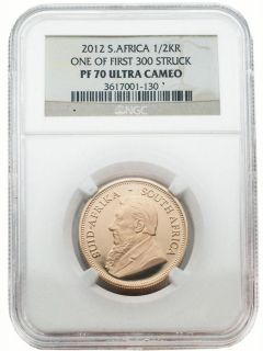 South Africa 2012 Krugerrand one of first 300 struck 1/2 oz Gold Coin