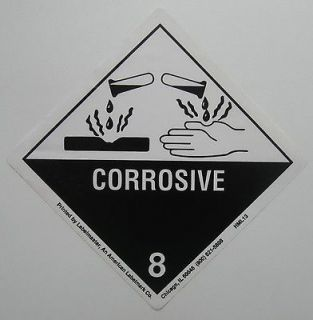 CORROSIVE Label warning danger sticker DECAL Sign NEW one cent white
