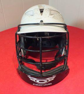 Cascade LaCrosse Helmet w/Cage & Chin Strap White Size Junior Fast