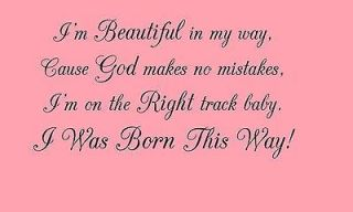 Lady Gaga I Was Born This Way Music Quote Vinyl Wall Art Sticker Wall