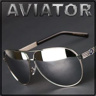 Air Force Aviators Metal Frame Sunglasses Chrome with Blue Star NEW T4