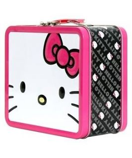 NEW LOUNGEFLY HELLO KITTY FACE PINK BLACK METAL LUNCH BOX CONTAINER