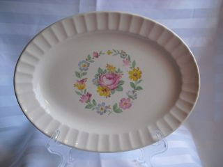 Beautiful Edwin M Knowles Semi Vitreous Oval Serving Platter 11 3/4