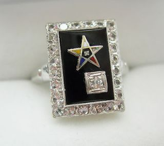 Ladies Black Onyx Masonic Eastern Star ~10k White Gold Ring Size 7.25