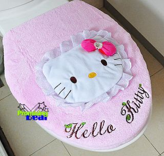 Super Cute Hello Kitty 3D Lace Soft Bathroom Toilet Seats & Toilet Lid