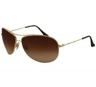 3293 001/13 67 Gold Brown Large Metal Aviator Mens Womens Sunglasses