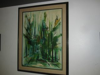 LARGE LEE REYNOLDS MIDCENTURY MODERN OIL ON CANVAS PAINTING