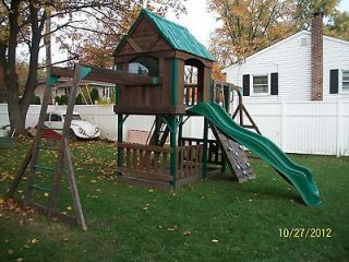 Wood Leisure Time Product Swing Set Swingset Playset w/Sand box
