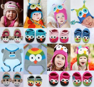 Newborn Baby Crochet Knit Hats Shoes Photograph New 8 Color Gift